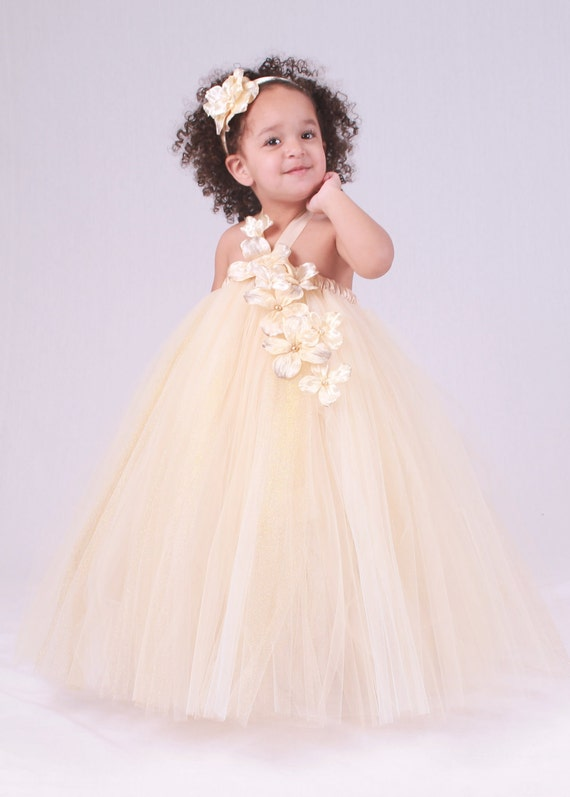 Flower Girl Tutu Dress - Beige Champagne - Dazzling Dream - 12 Month to 2 Toddler Girl