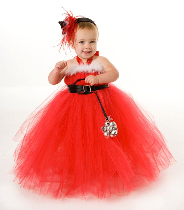 Tutu dress red christmas holiday santa by cutiepatootiedesignz