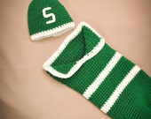Michigan State or University of Michigan Infant Cocoon and Hat Set - striped