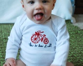 Bicycle baby bodysuit embroidered 'this is how i roll'