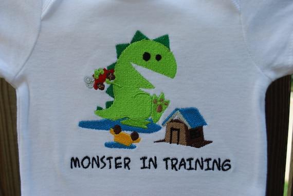 Baby boy Monster in Training bodysuit made to order