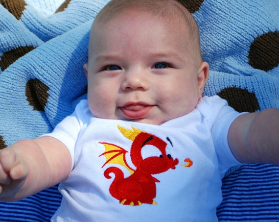 Baby Dragon bodysuit - embroidered Year of the Dragon