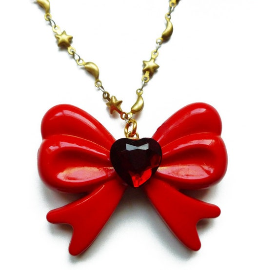 Sailor Moon Inspired Red Bow Heart Jewel Necklace with Gold Moon and Stars Chain