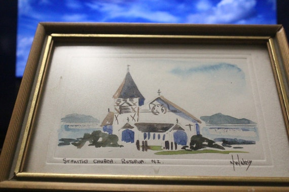 Vintage Hand Painted Water Color  - St. Faiths Church Rotorua New Zealand