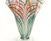 Hand Blown Art Glass Vase - Peach and Pink - Fluted - Freeform