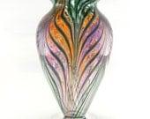 Hand Blown Art Glass Vase - Purple, Peach, and Pink