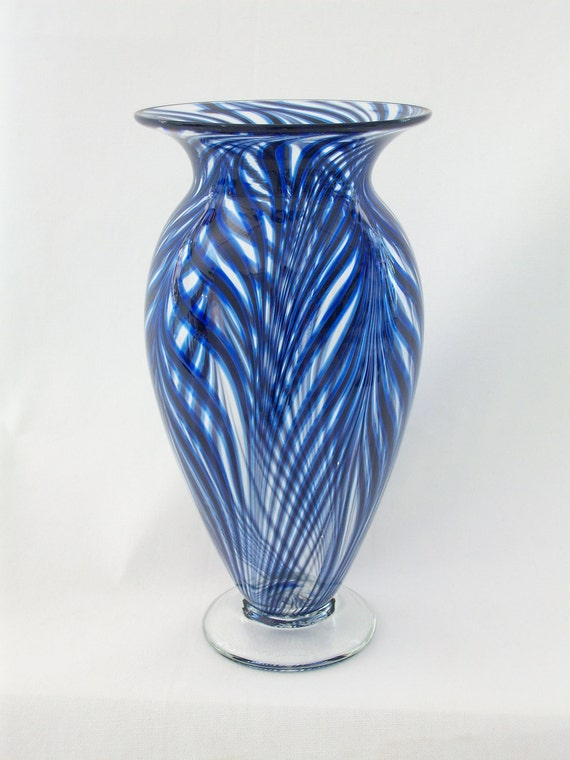 blown glass art blown glass vase cobalt blue amp black by 1720