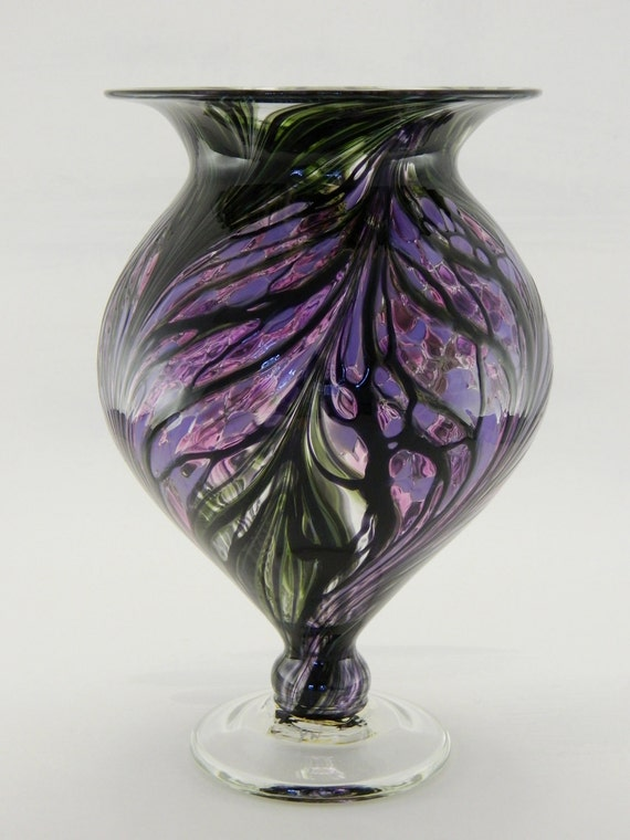 Hand Blown Art Glass Vase Purple And Lavender By