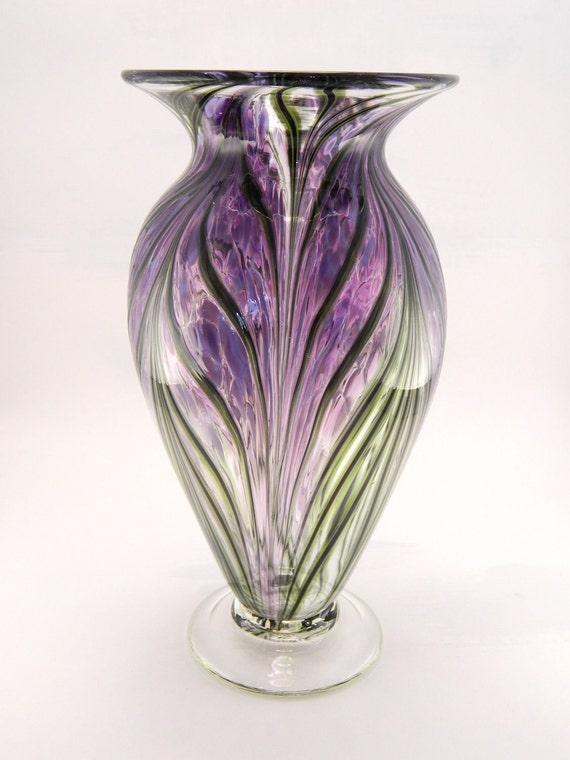 Hand Blown Art Glass Vase - Lavender and Hyacinth Purple