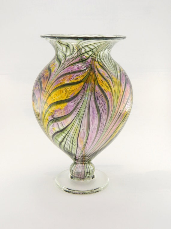 Hand Blown Art Glass Vase - Amethyst Purple and Gold