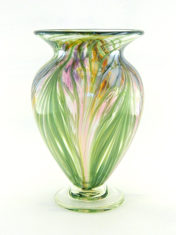 Hand Blown Art Glass Vase - Iridescent Amber, Purple, and Pink