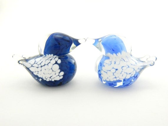 Art Glass Love Birds - Navy Blue, Pale Blue, and White - Set of Two