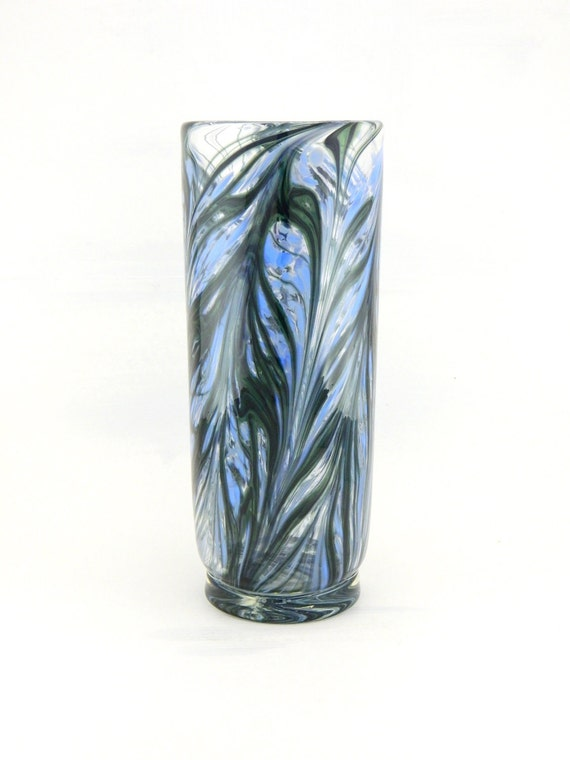 Hand Blown Art Glass Vase - Pale Blue, Green, and Black