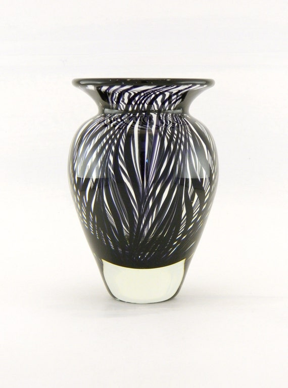 Hand Blown Art Glass Vase - Black - Cased - Zebra - Modern