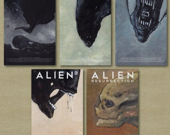 Aliens and Prometheus Horror Science Fiction set of Five 11 x 17 posters