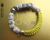 Yellow neon bracelet with double strand howlite stones. Knot neon bracelet with silver chain and stones showing veining. Neon jewelry.