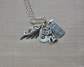 I love cats collage sterling silver w/ initial hand stamped