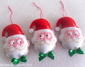 Set of 3 Santa Claus - Christmas ornaments