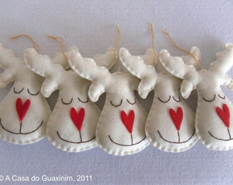 Set of 6 pearl Reindeers - Christmas ornaments