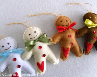 Set of 4 Gingerbread Man - Christmas ornaments