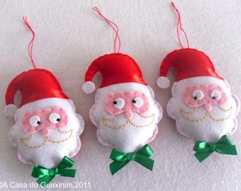 Set of 3 Santa Claus - Christmas ornaments