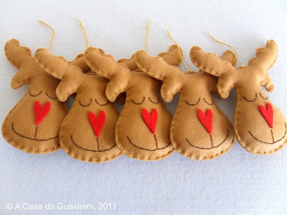 Set of 6 brown Reindeers - Christmas ornaments