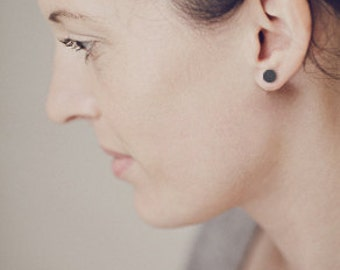 Blackened Silver Studs Earring Dots, big
