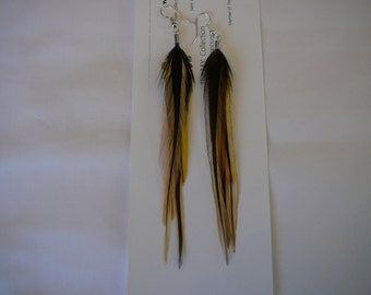 Golden Badger  Feather Earings Set ..........Accents to your Feather Hair Extension By The MyCollection2