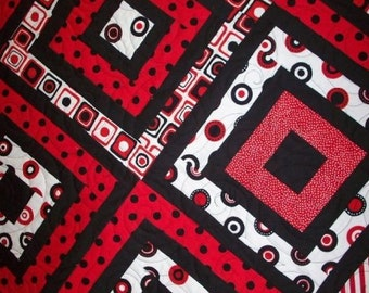 Black & White With Red All Over Quilt