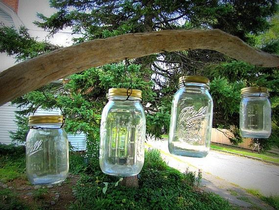 Driftwood Hanging Mason Jar Folk Art