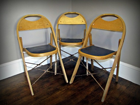 Vintage Stakmore Folding Chairs Navy