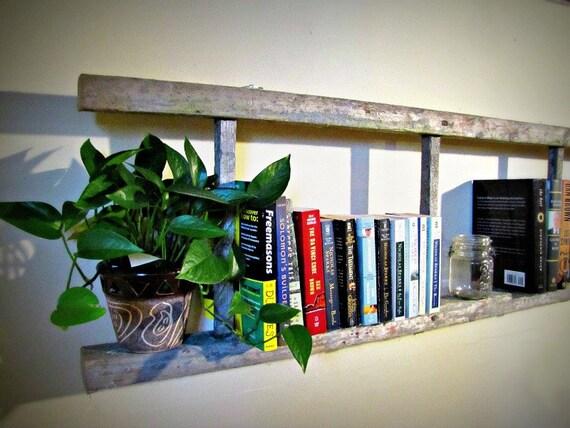 """Antique Silvered 4 rung wooden bookshelf ladder - 62"""" Long"""