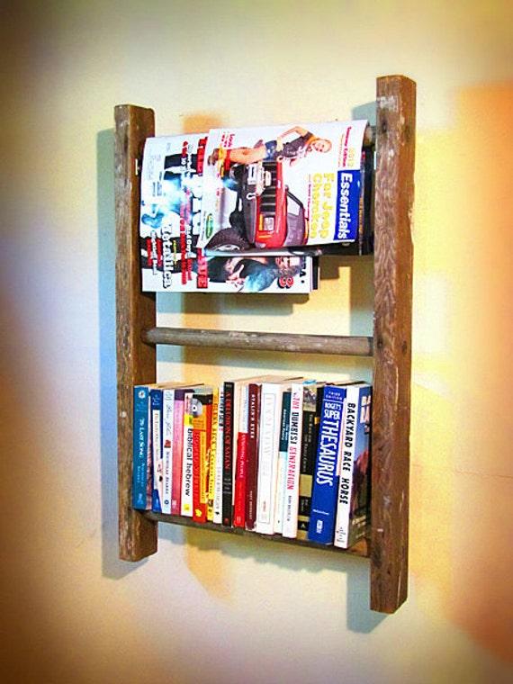 Antique wooden ladder bookshelf, towel rack, magazine rack