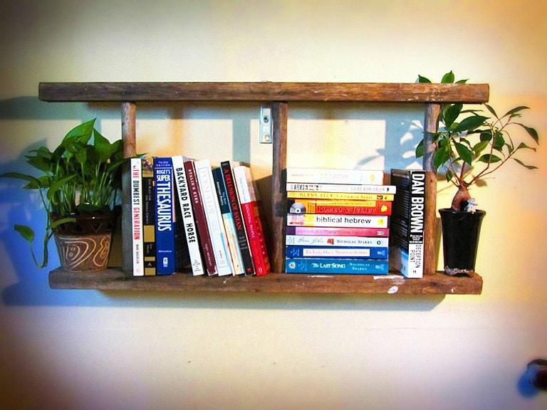 Rustic Wooden Bookshelf Ladder