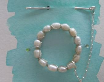 Freshwater pearl shawl pin, or sweater closure