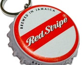 Red Stripe Beer Bottle Cap Customizable ID Tag