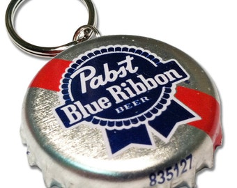 Beer Bottle Cap ID Tag - Pabst Blue Ribbon