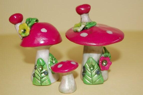 SALE 50% off  Playful set of Pink Mushroom Fairy Houses