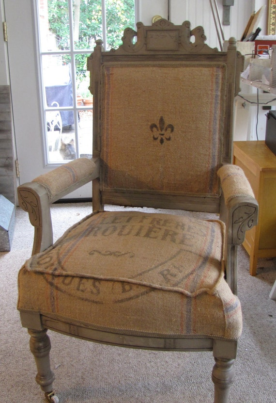 Antique Eastlake Victorian Chair covered with Antique French