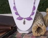 Lavender Jade, Amethyst, Silver Owl Beaded Necklace