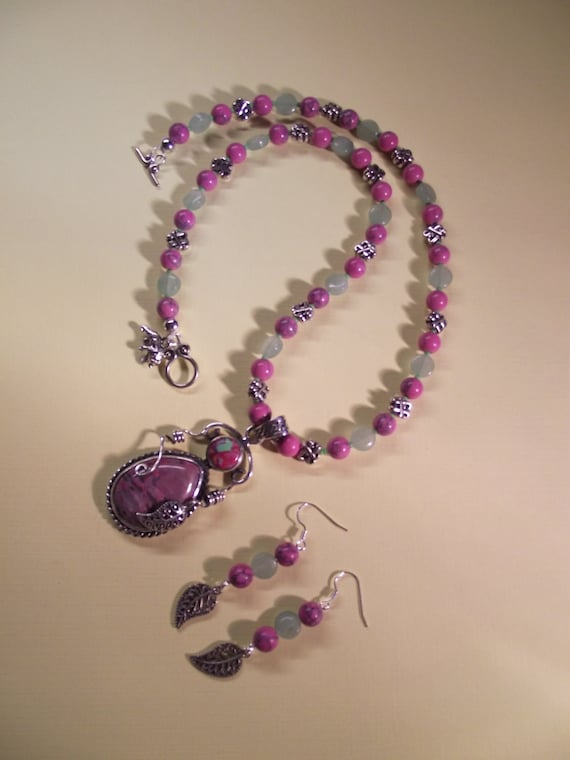 Spring Adventure - Rhodonite and AU Opal Pendant Beaded Necklace/ Earrings Set