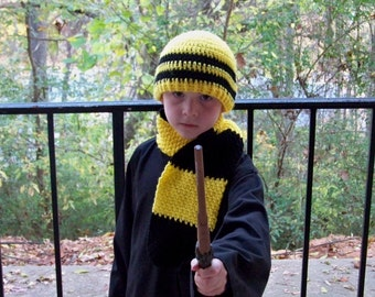 Wizard Inspired Hat & Scarf Set Crochet - You Choose House Colors