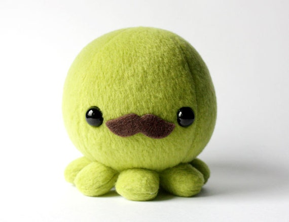 Green Octopus Plush with Moustache