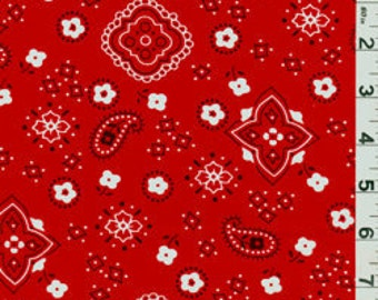 """60"""" Red Bandana Fabric-15 Yards Wholesale by the Bolt"""