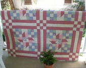 Spring quilt, Pink quilt, Lap quilt with lilac, pink, lavender, blue and green