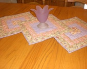 Table Runner for spring,  Colors of peach, lavender and green