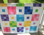 baby quilt in bright colors