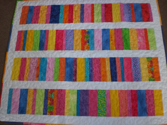 Baby quilt Stacked Coins in bright colors