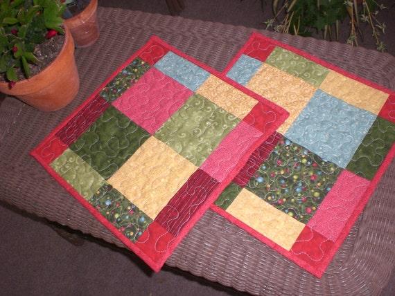 Holiday table toppers, Christmas mug rugs