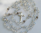Heavenly Blue Rosary ~ Bridal Wedding Rosary of Sterling Silver &  Crystal